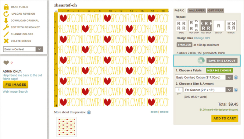 "Spoonflower ""Save This Layout"" button"