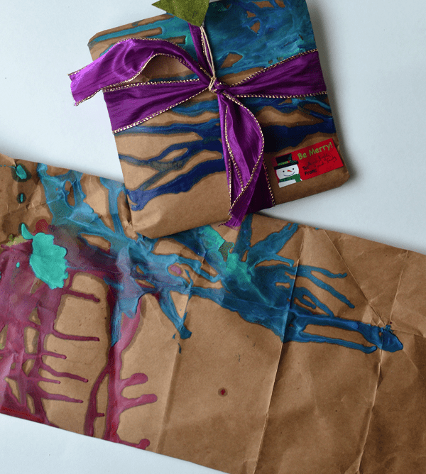 melted crayon DIY gift wrap