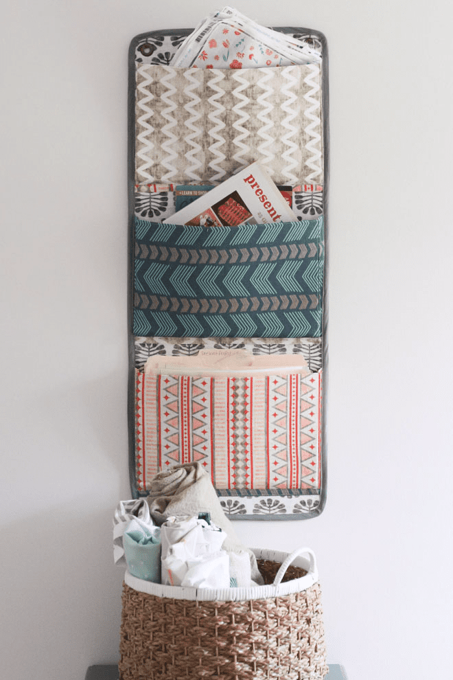 DIY Fabric Wall Organizer via Spoonflower