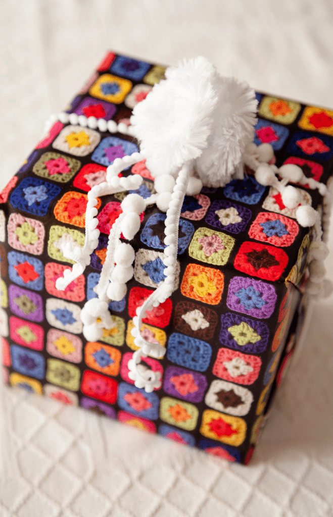 granny square custom gift wrap