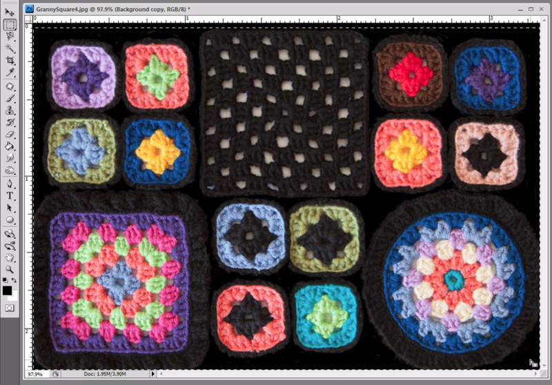 granny square fabric editing in Photoshop