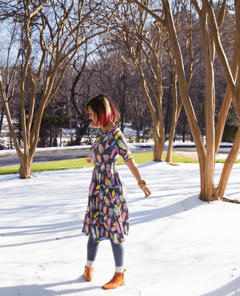 Sew and design your own Moneta dress with Cotton Spandex Jersey and Sprout Patterns!