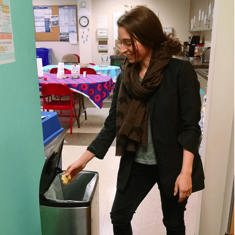 The sustainability committee encourages team members to compost leftovers from lunch