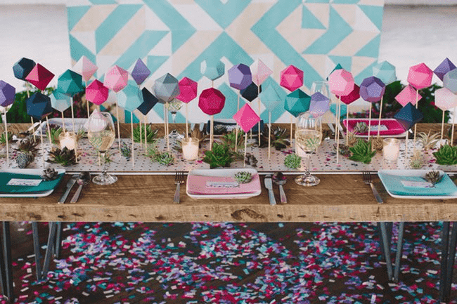 DIY Wedding Table Runner Ideas 3d platonic solids