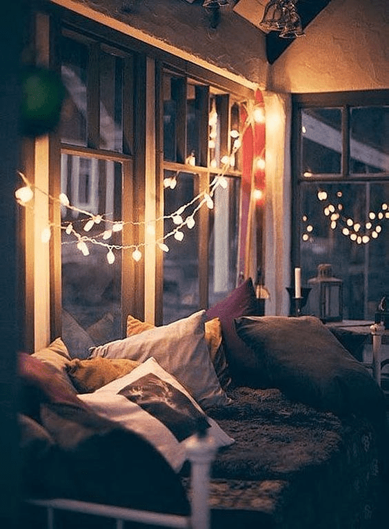 Make a cozy vibe by stringing up lights