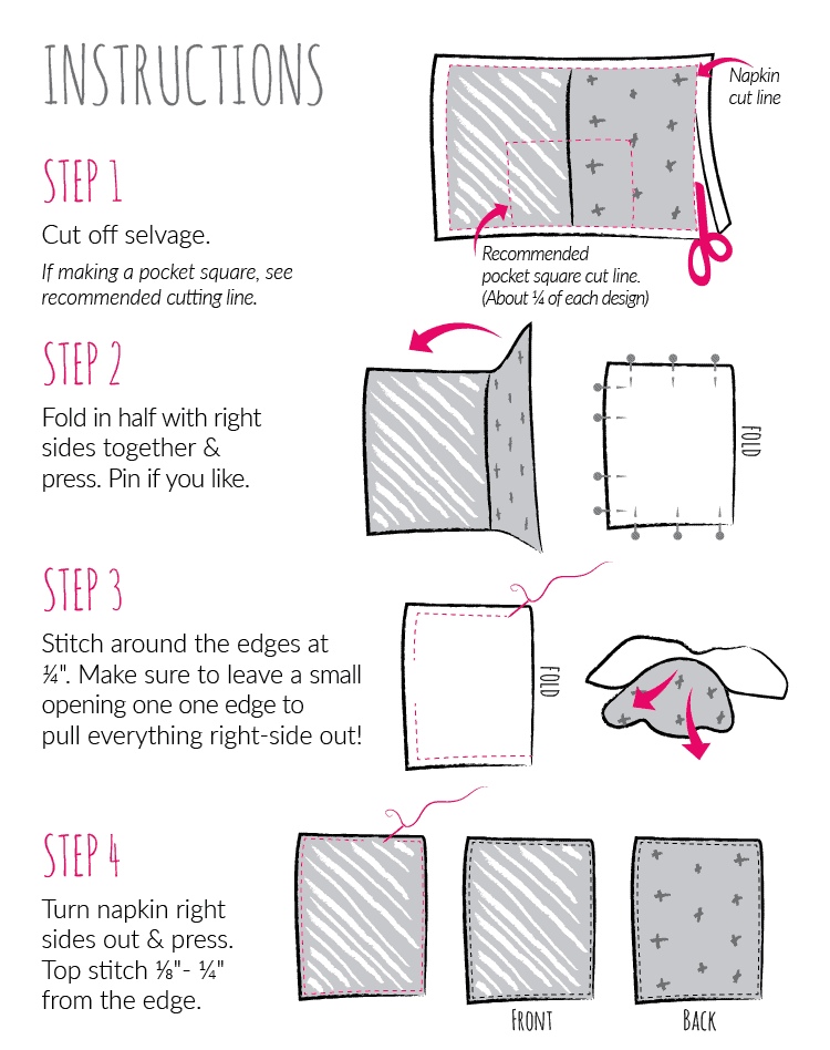 Instructions for how to sew your new double sided pocket square or cloth napkin. Order now to receive yours by V-day!