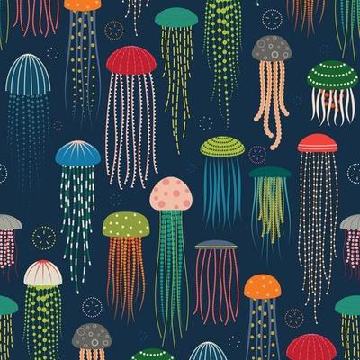 Colorful jellyfish wallpaper design