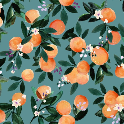 Watercolor oranges on a teal background wallpaper