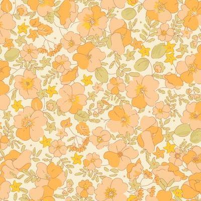 70s retro floral wallpaper design