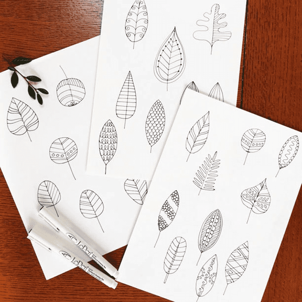 Design-A-Day SpoonChallenge Day 5: Pen Ink, leaf sketches by Lucie Duclos