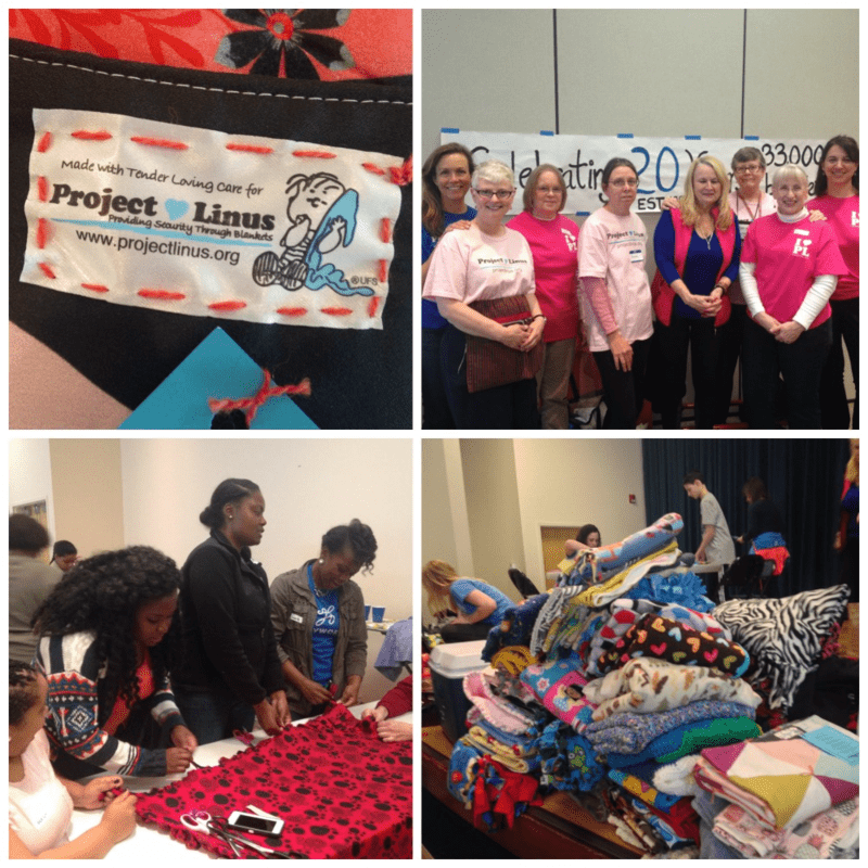 Project Linus Make a Blanket Day blankets and volunteers