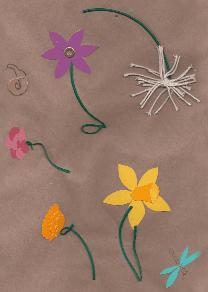 Paper spring found objects collage