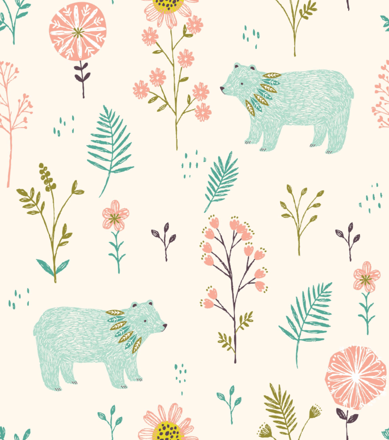 Garden Bears available at spoonflower.com