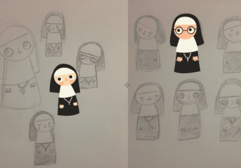 Kawaii Nuns, Kawaii Designs, Day 13 Design-A-Day, March SpoonChallenge, Heidi Kenney