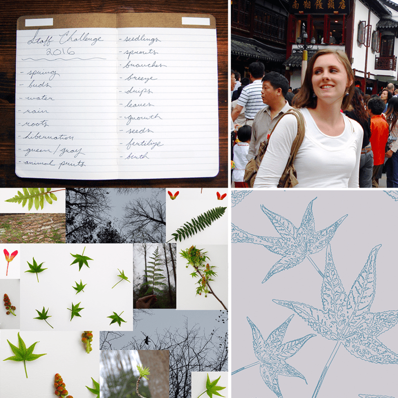 Liz drew inspiration from the leaves in her backyard for this year's Employee Design Challenege