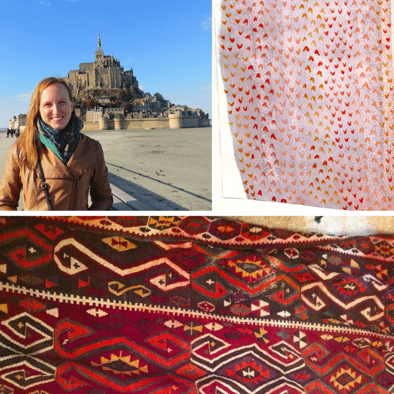 A Turkish killim helps inspire Taylor's Spoonflower Employee Design Challenge entry.