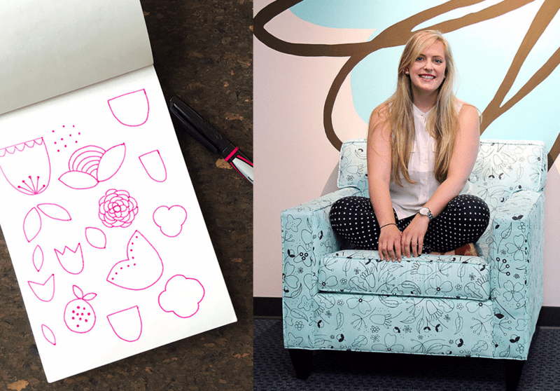 Allie proudly sits on her custom chair upholstered in her 2014 Employee Design Challenge winning design!
