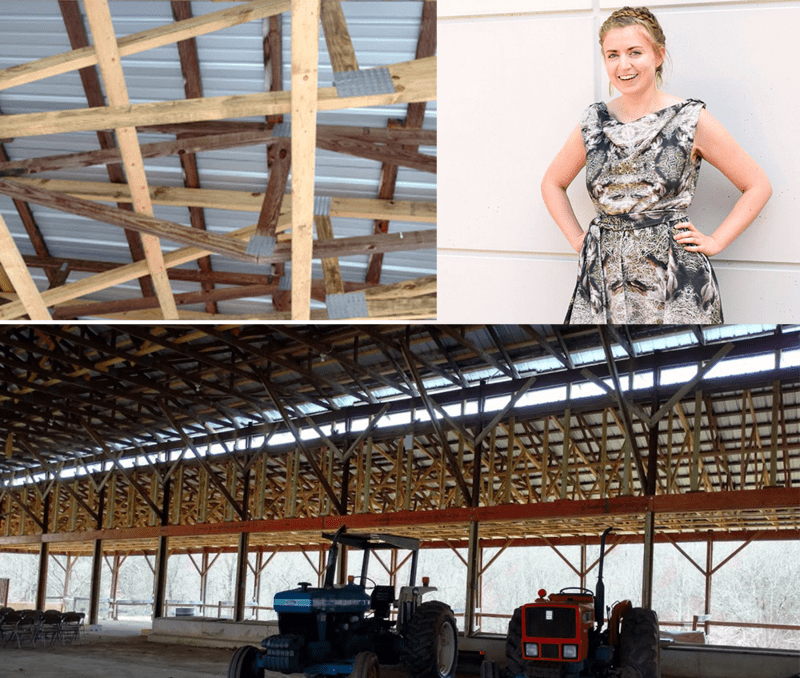 Without using a design program, Katie used a photo of a barn roof to create an abstract design for the Employee Design Challenge