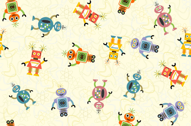 Cute Retro Robots by Jumping Monkeys