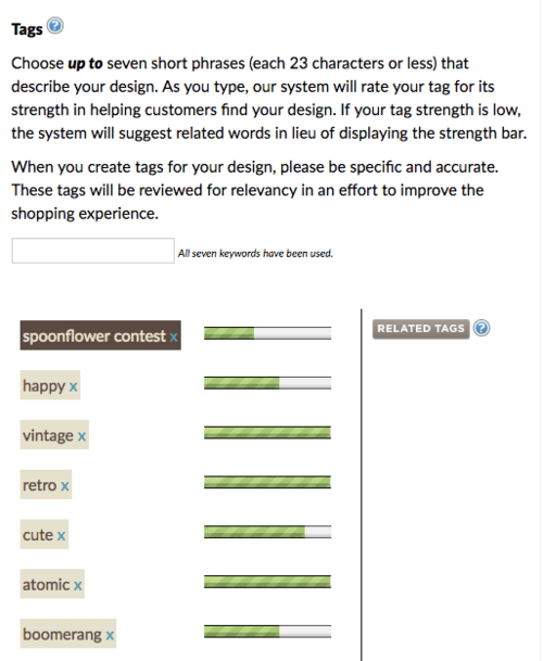 tag your design with up to 7 descriptive tags