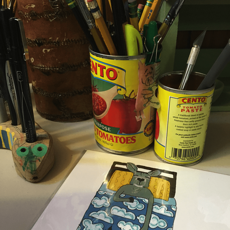 studio supplies and illustrations