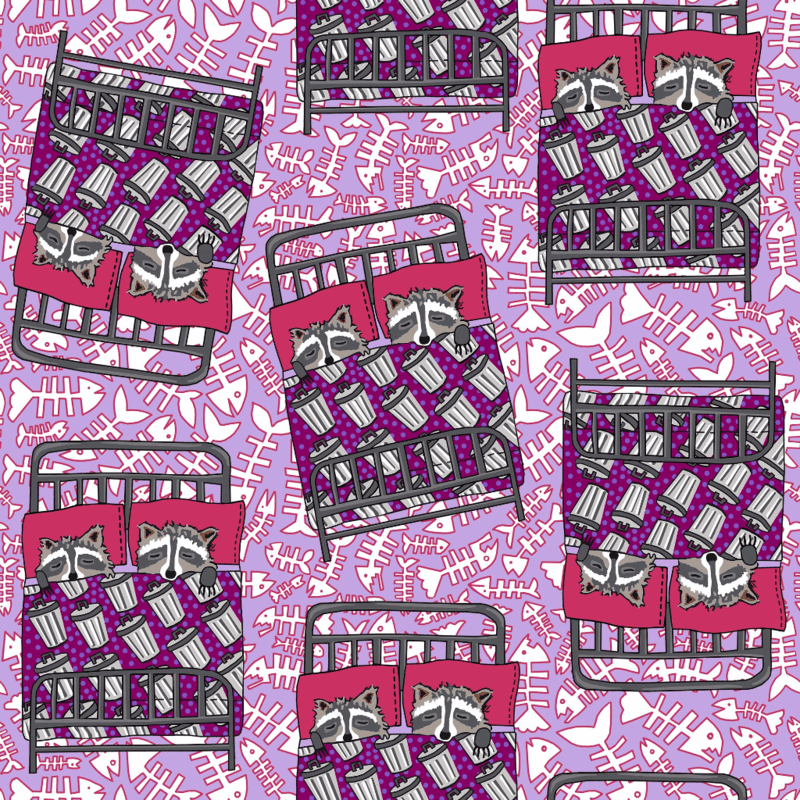 Dream Racoons fabric design