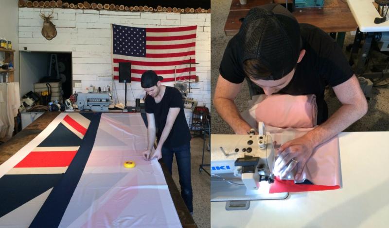 Sew flag panels together