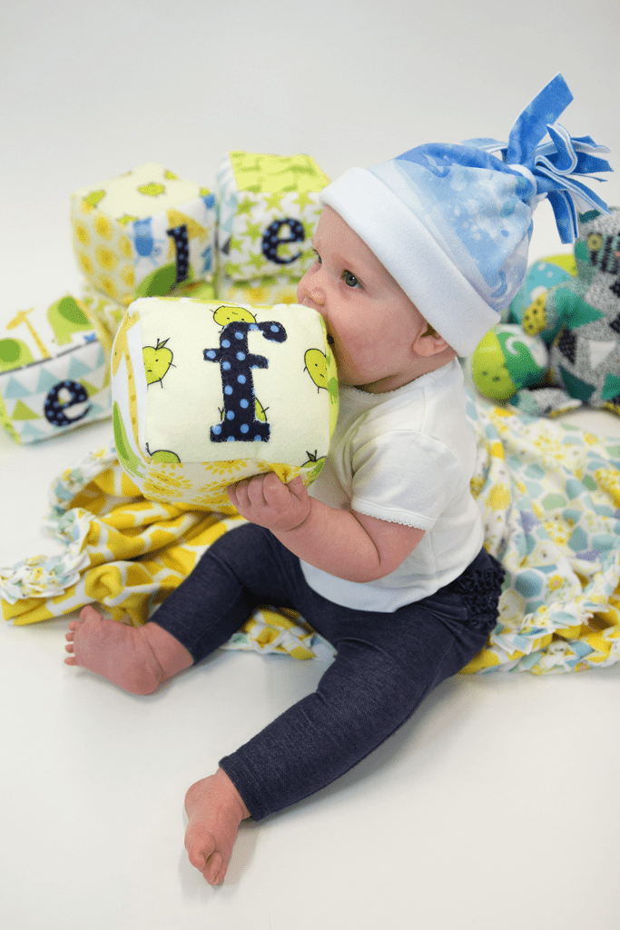 Babies love Spoonflower's cozy Fleece!