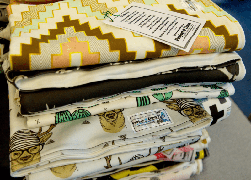Project Linus blankets sewn from Spoonflower remnant fabric
