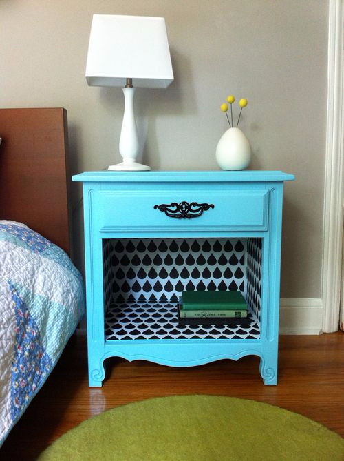 A $10 night stand goes from drab to fab with a fresh coat of spray paint and Spoonflower wallpaper