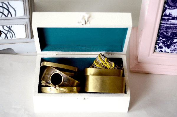 gold bracelets in a jewelry box