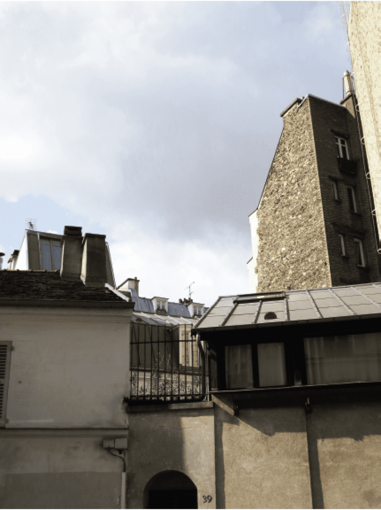 rooftop photograph from the designer's trip to Paris, France