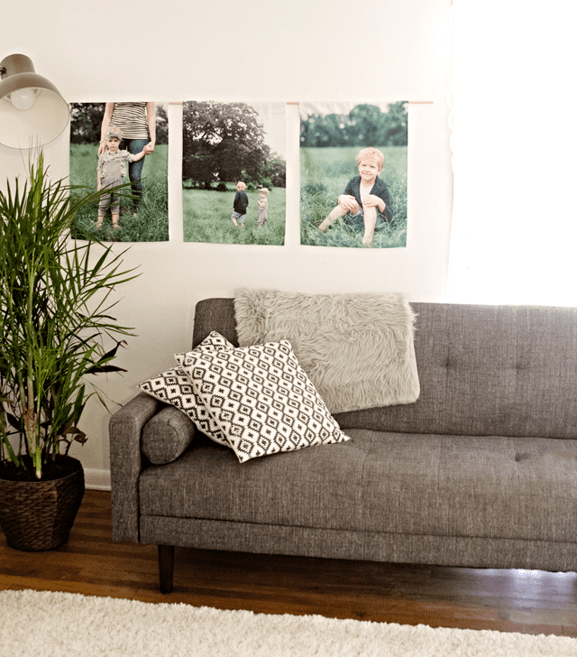 canvas gallery wall with family photos and linen cotton canvas