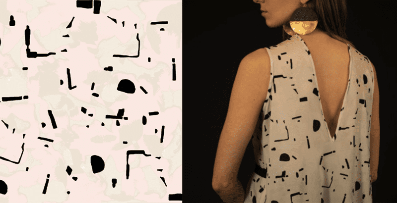 Digital surface pattern transformed into a garment by Angele Gray
