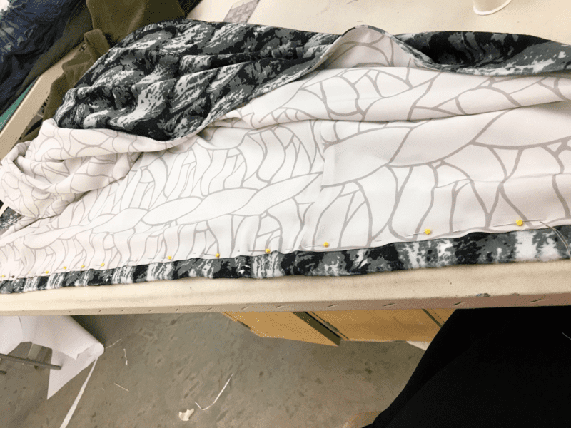 process shot of silk crepe de chine being transformed into a garment by Susan Stephens