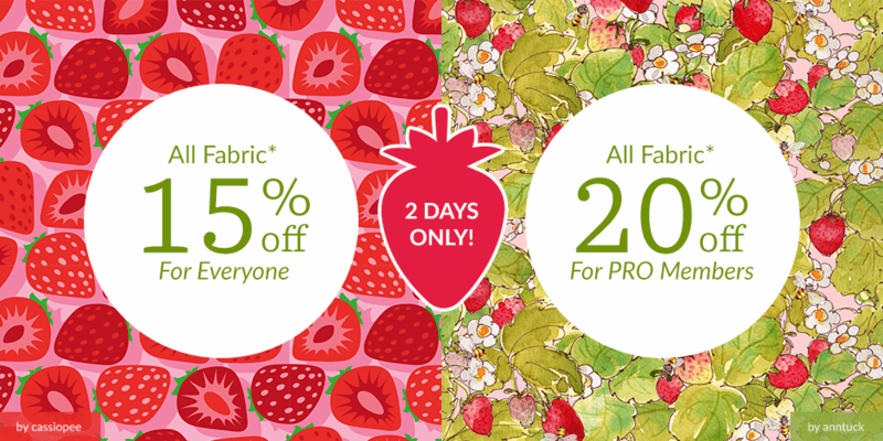 All fabric up to 20% off now through Sunday!
