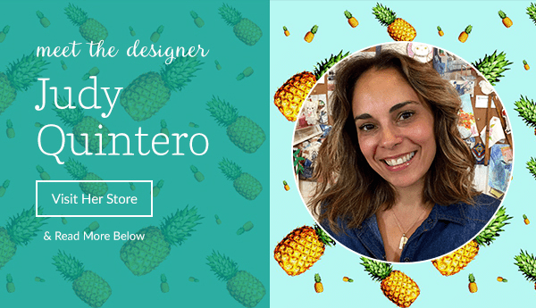 Judy Quintero Spoonflower designer, pineapple