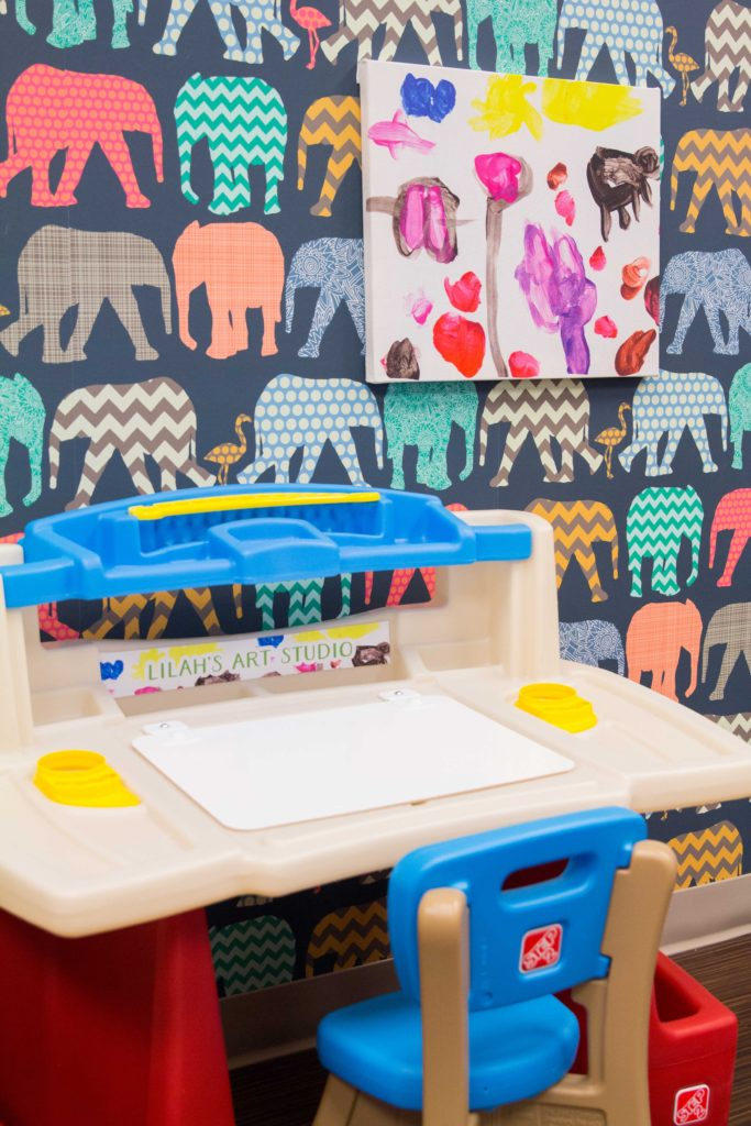Step2 Deluxe Art Master Desk with Kid's Canvas Wall Art | DIY tutorial from Spoonflower
