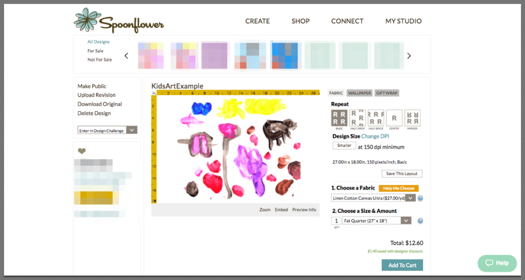 Uploaded kid's art to Spoonflower's design tool