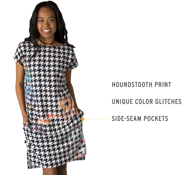 Houndstoof Dress, glitch print