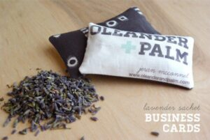 Lavender sachet business cards from Oleander + Palm