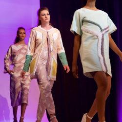 Meghan Shea designed original fabrics using Spoonflower for the 2016 A2W Fashion Show