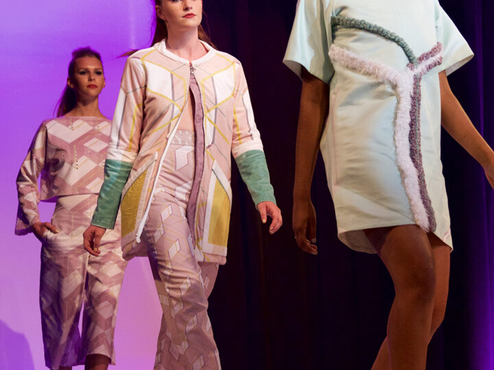 Meghan Shea designed original fabrics using Spoonflower for the 2016 A2W Fashion Show