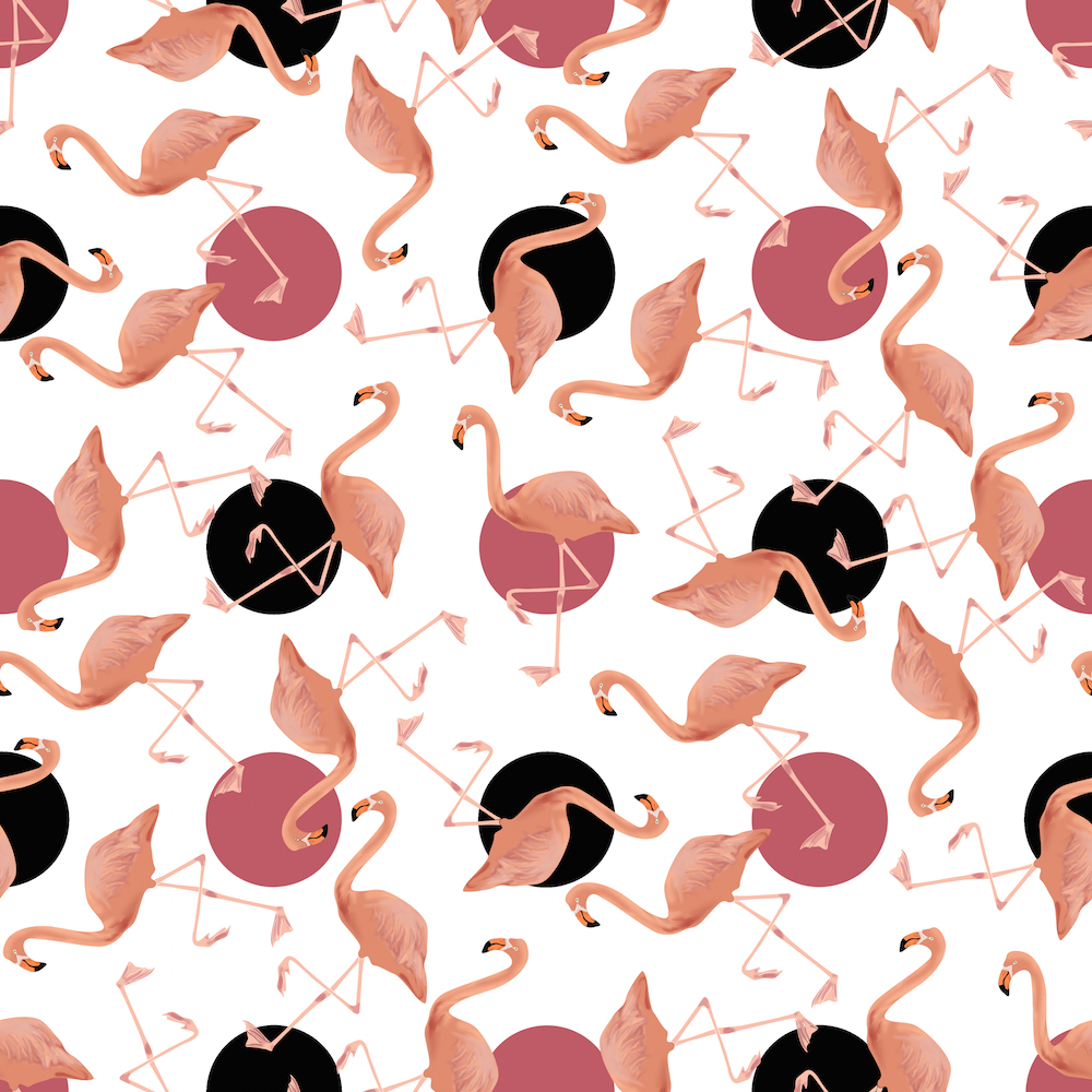 Flamingos on Polka Dots by eclectic_house