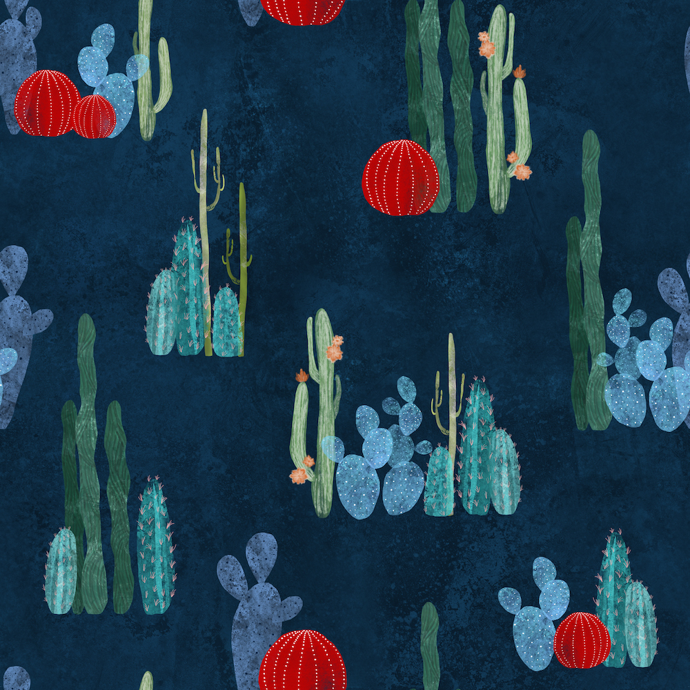 cactus-garden-on-deep-blue-by-lavish_season available on fabric, wallpaper and gift wrap