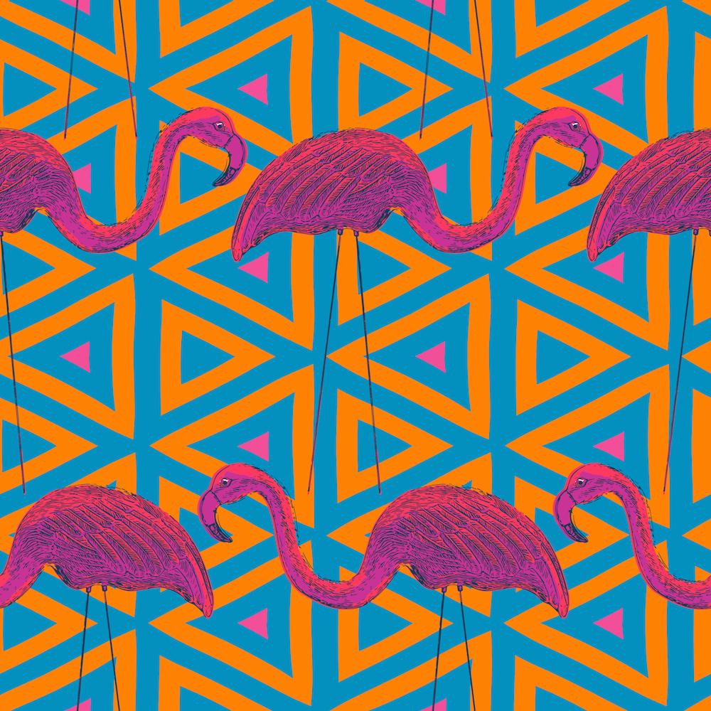 Flamingo Retro on Geometric Background by mariafaithgarcia