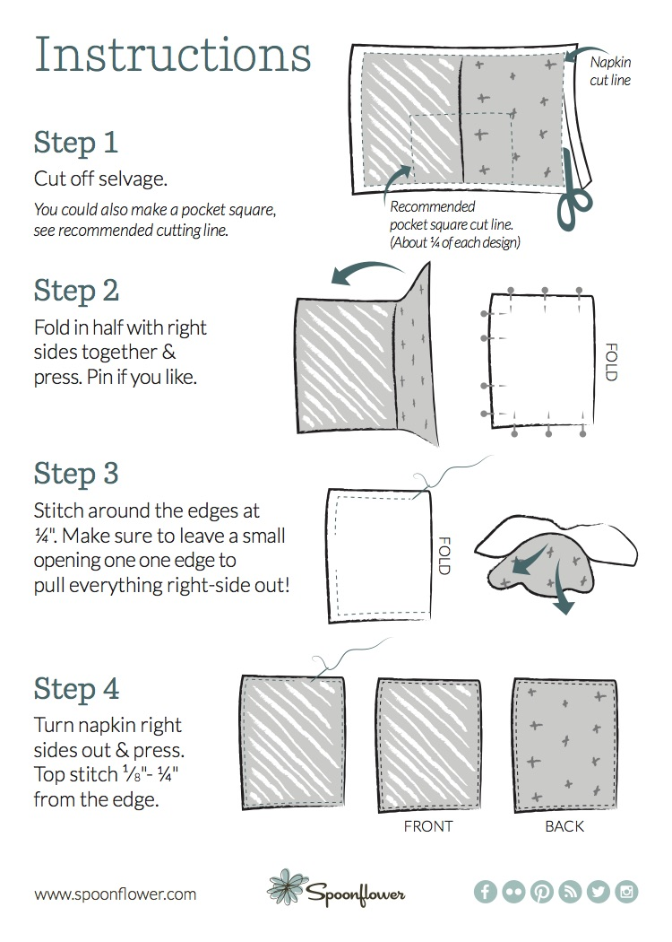 Summer Picnic Napkin DIY sewing instructions