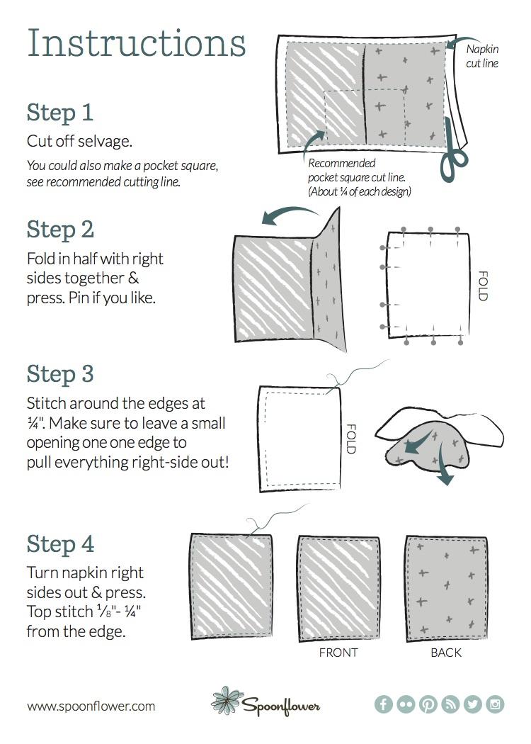 Summer Picnic Napkin DIY sewing instructions