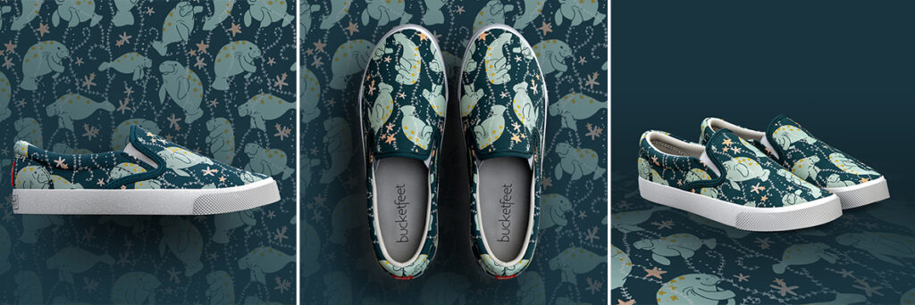 Oh, The Hue-manatee shoes available for pre-order on Bucketfeet