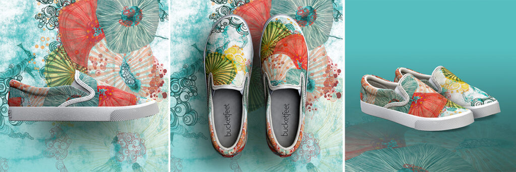 """Life At Sea"" shoes designed by Mimi Pinto available for pre-order now on Bucketfeet"
